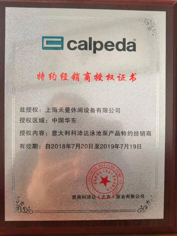 意大利科沛达泳池泵产品经销商授权证书