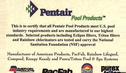 美国PENTAIR滨特尔泳池设备品牌授权书